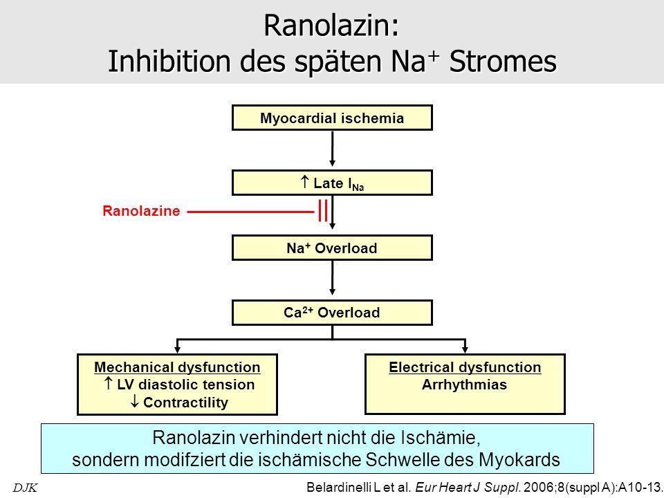 Ranolazin: Inhibition des späten Na+ Stromes