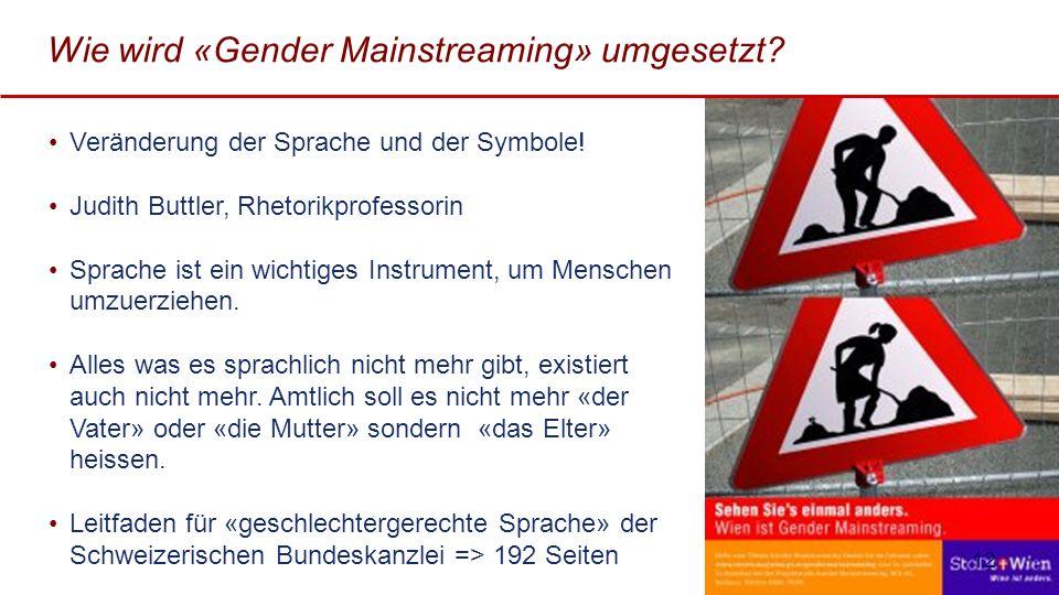 Wie wird «Gender Mainstreaming» umgesetzt