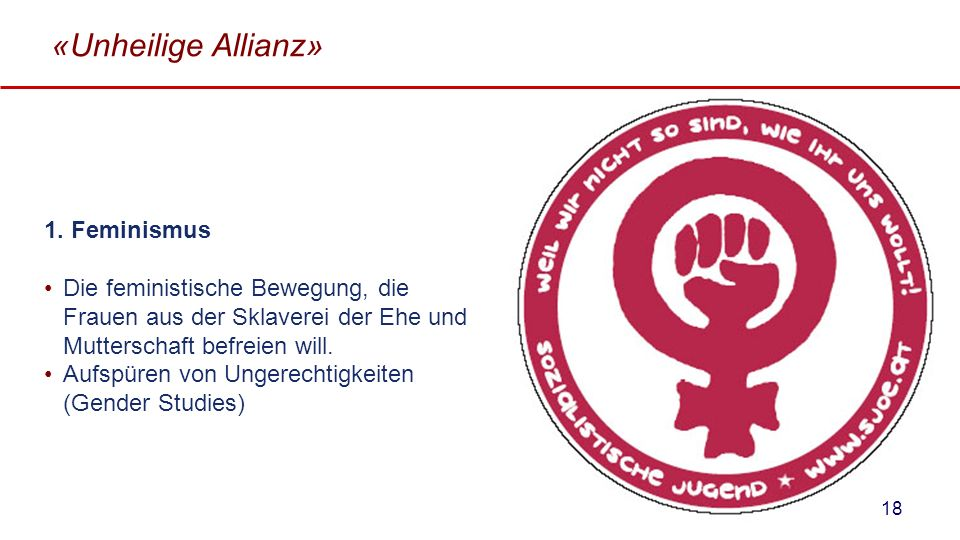 «Unheilige Allianz» 1. Feminismus