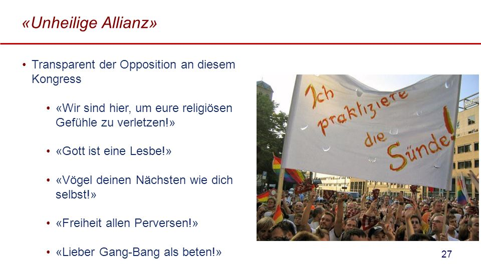 «Unheilige Allianz» Transparent der Opposition an diesem Kongress
