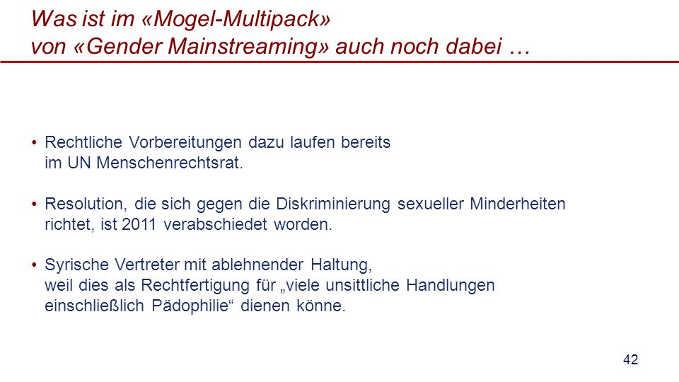 Was ist im «Mogel-Multipack» von «Gender Mainstreaming» auch noch dabei …