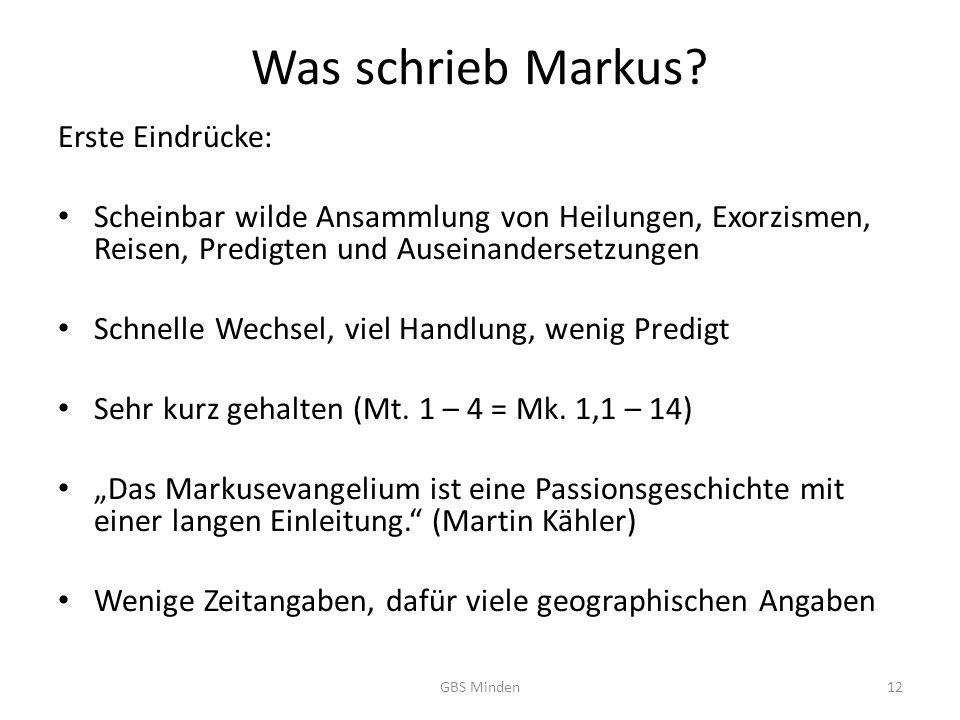 Was schrieb Markus Erste Eindrücke: