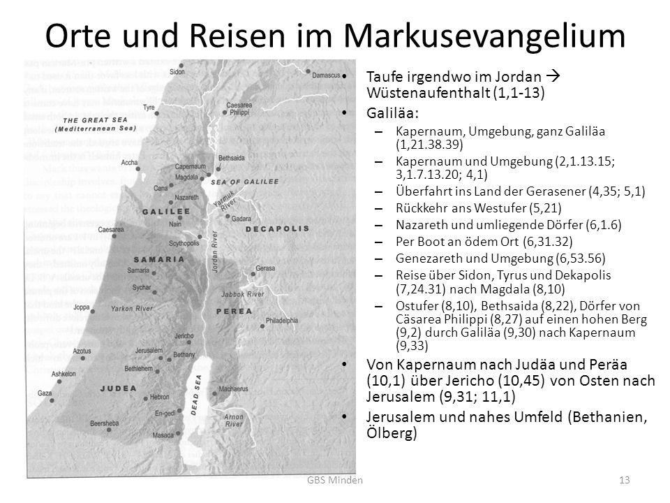 Orte und Reisen im Markusevangelium