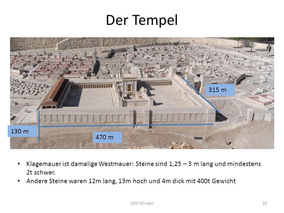 Der Tempel 315 m. 130 m. 470 m. Klagemauer ist damalige Westmauer: Steine sind 1,25 – 3 m lang und mindestens 2t schwer.