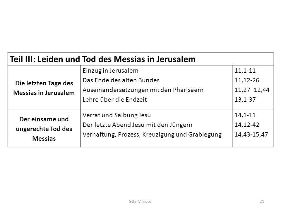 Teil III: Leiden und Tod des Messias in Jerusalem