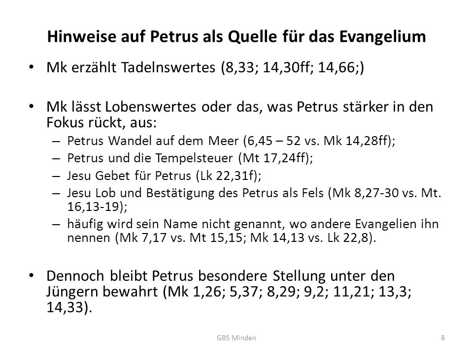 Hinweise auf Petrus als Quelle für das Evangelium