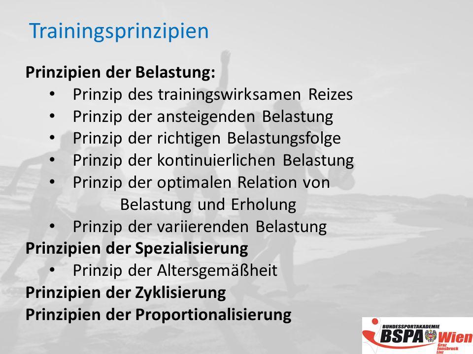 Trainingsprinzipien Prinzipien der Belastung: