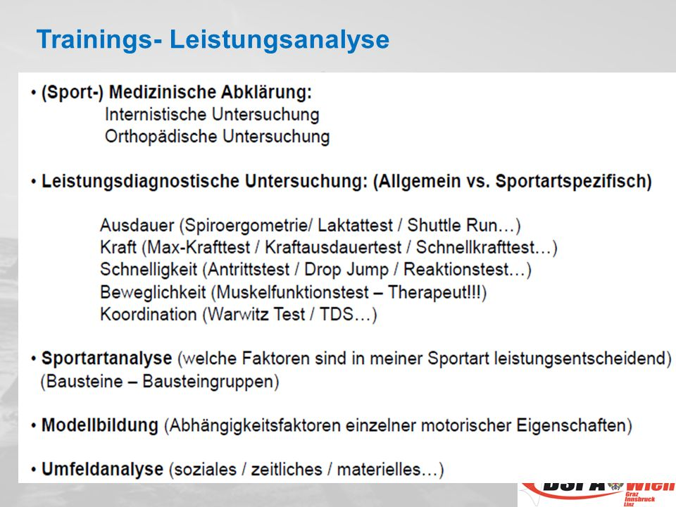 Trainings- Leistungsanalyse