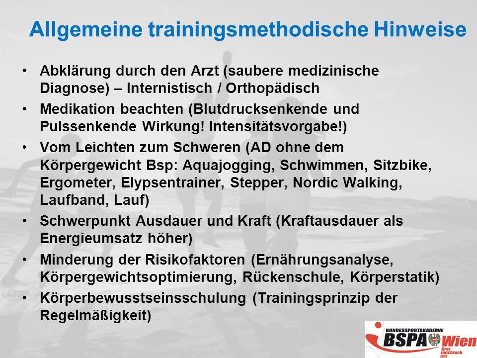 Allgemeine trainingsmethodische Hinweise