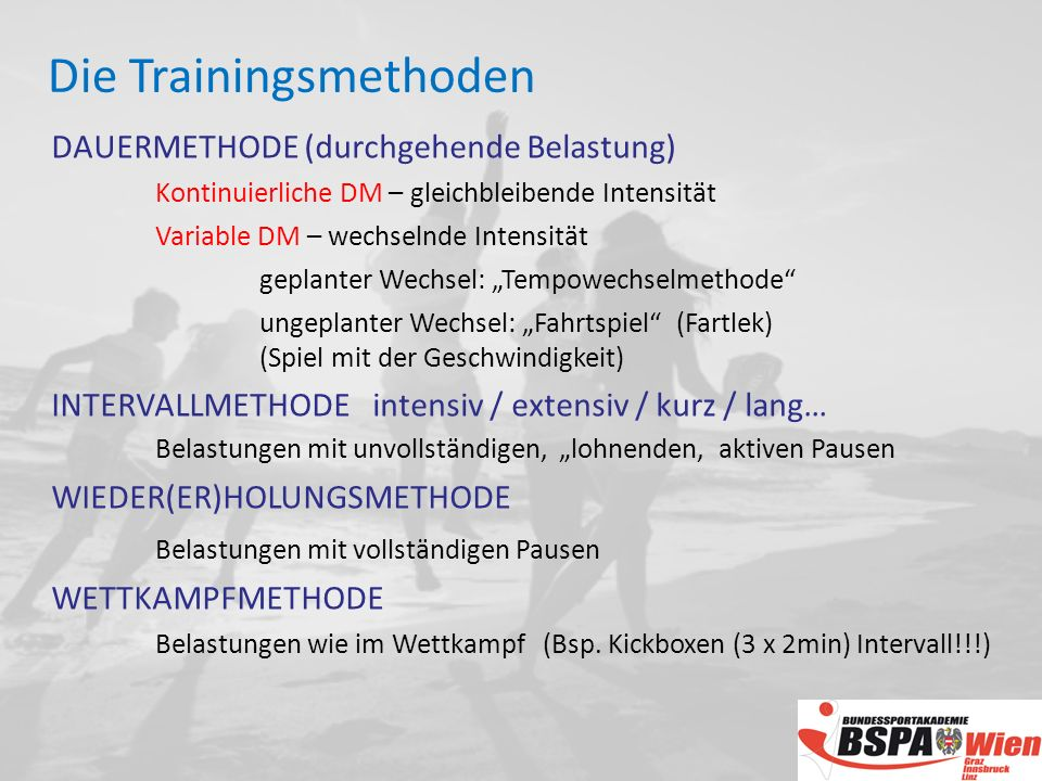Die Trainingsmethoden