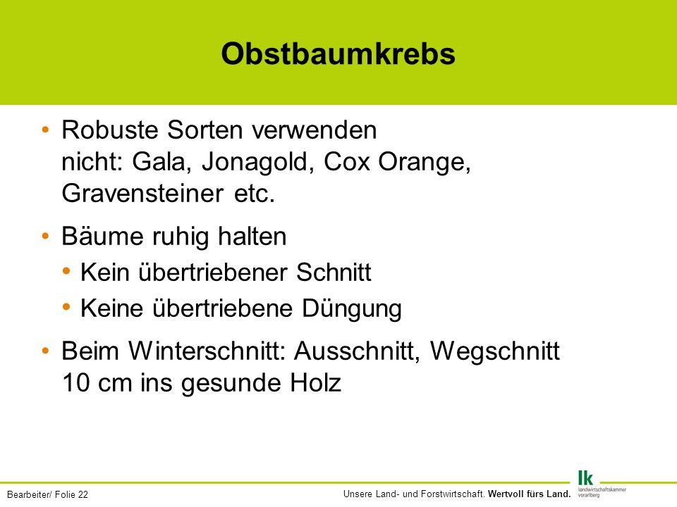 Obstbaumkrebs Robuste Sorten verwenden nicht: Gala, Jonagold, Cox Orange, Gravensteiner etc. Bäume ruhig halten.