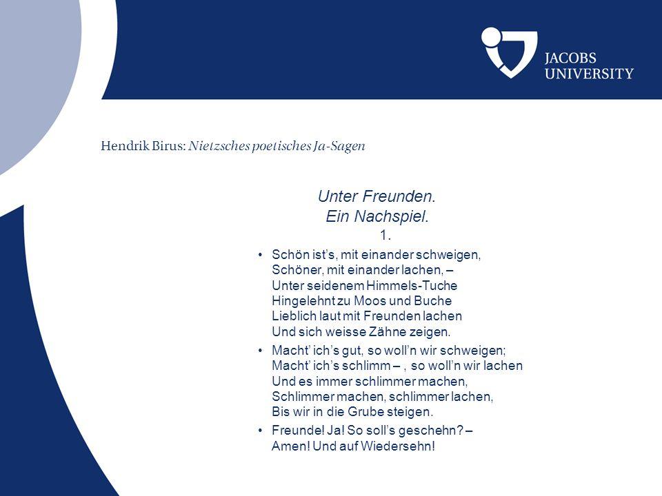Hendrik Birus: Nietzsches poetisches Ja-Sagen