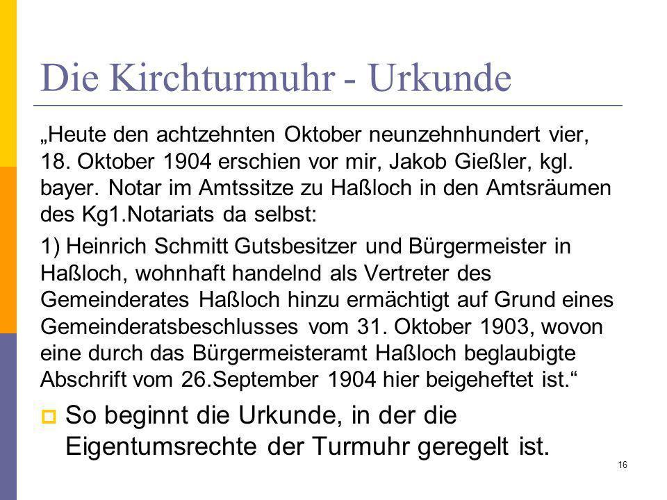Die Kirchturmuhr - Urkunde