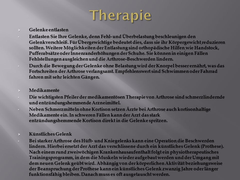 Therapie Gelenke entlasten