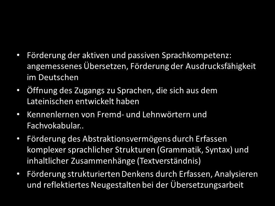 Förderung der aktiven und passiven Sprachkompetenz: angemessenes Übersetzen, Förderung der Ausdrucksfähigkeit im Deutschen