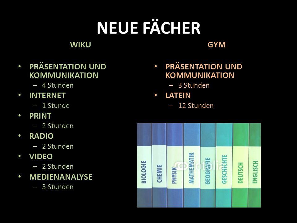 NEUE FÄCHER WIKU PRÄSENTATION UND KOMMUNIKATION INTERNET PRINT RADIO