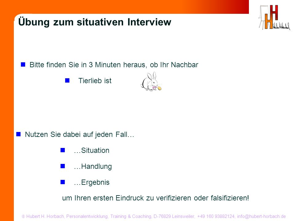Übung zum situativen Interview