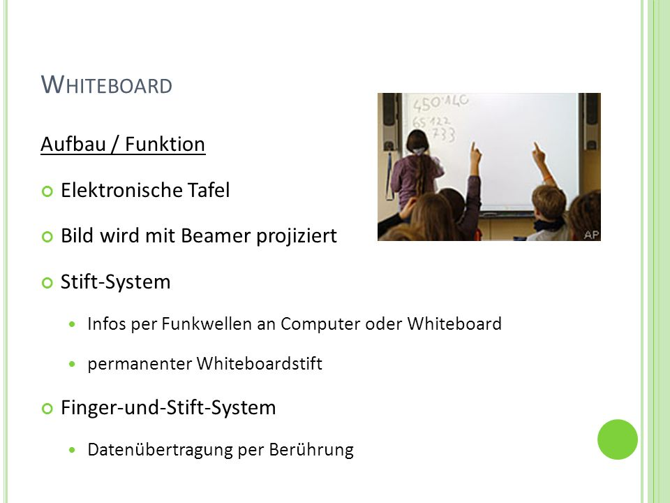 Whiteboard Aufbau / Funktion Elektronische Tafel