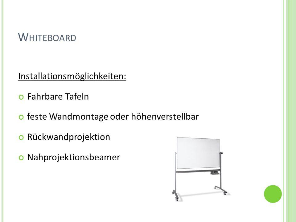 Whiteboard Installationsmöglichkeiten: Fahrbare Tafeln