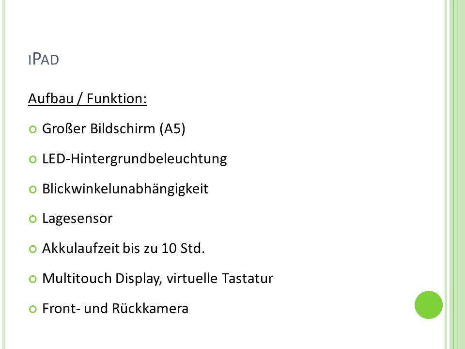 iPad Aufbau / Funktion: Großer Bildschirm (A5)