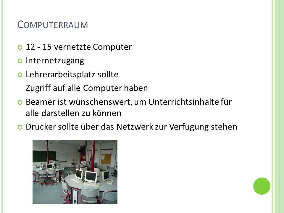 Computerraum 12 - 15 vernetzte Computer Internetzugang