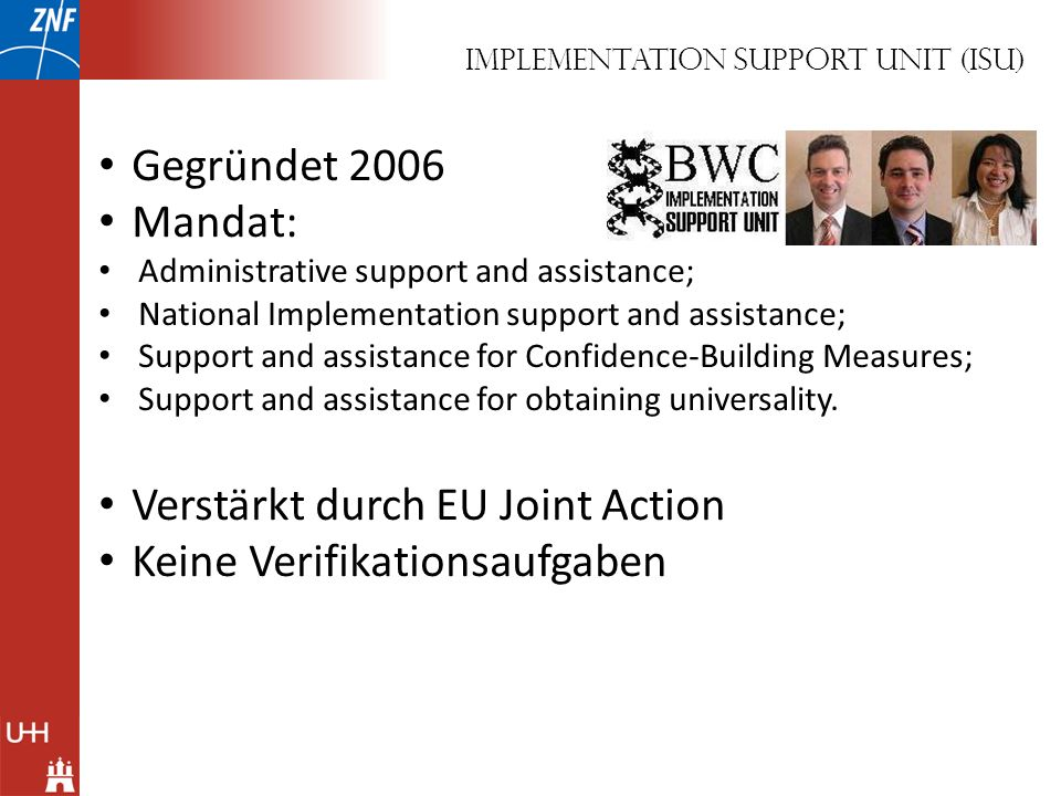Implementation Support Unit (ISU)