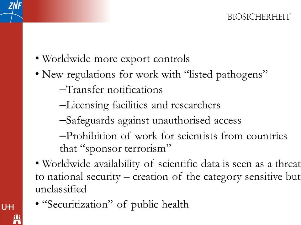 Worldwide more export controls