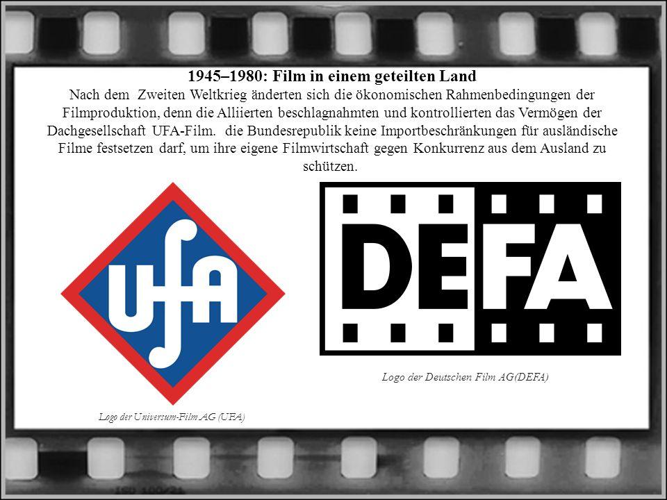 1945–1980: Film in einem geteilten Land Nach dem Zweiten Weltkrieg änderten sich die ökonomischen Rahmenbedingungen der Filmproduktion, denn die Alliierten beschlagnahmten und kontrollierten das Vermögen der Dachgesellschaft UFA-Film. die Bundesrepublik keine Importbeschränkungen für ausländische Filme festsetzen darf, um ihre eigene Filmwirtschaft gegen Konkurrenz aus dem Ausland zu schützen.
