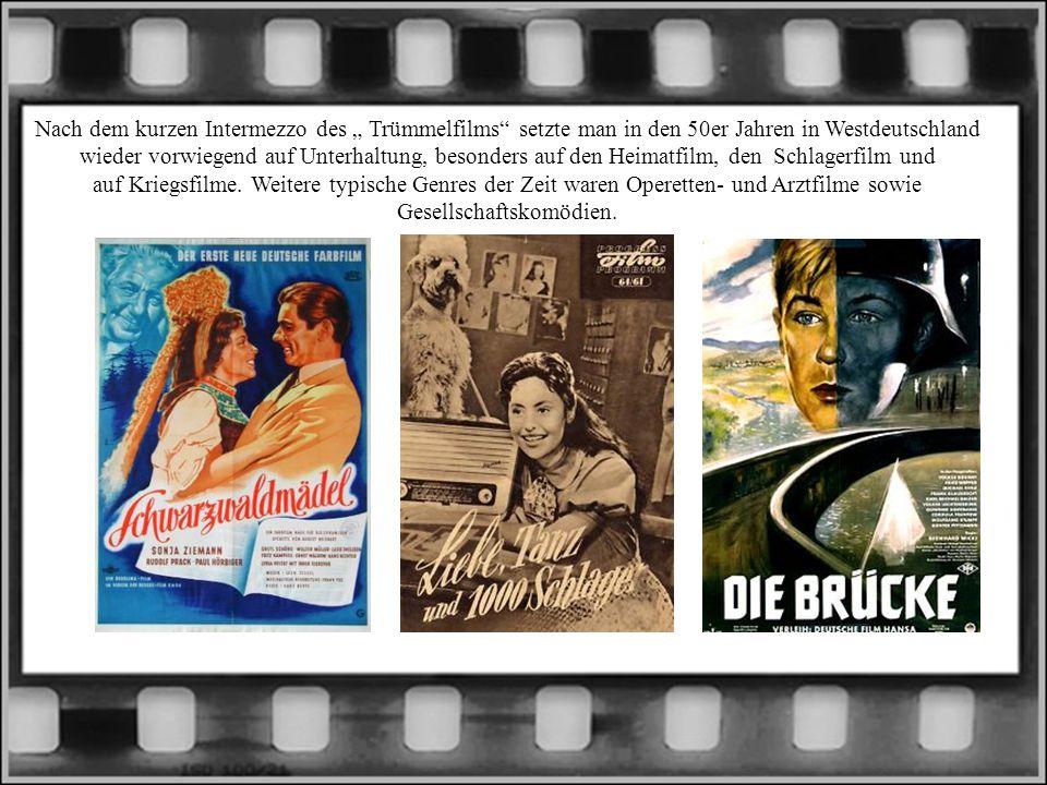 """Nach dem kurzen Intermezzo des """" Trümmelfilms setzte man in den 50er Jahren in Westdeutschland wieder vorwiegend auf Unterhaltung, besonders auf den Heimatfilm, den Schlagerfilm und auf Kriegsfilme."""