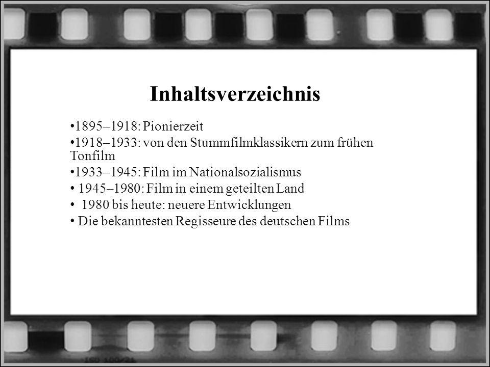 Inhaltsverzeichnis 1895–1918: Pionierzeit