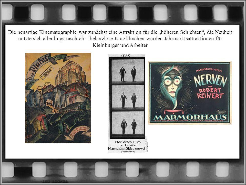 """Die neuartige Kinematographie war zunächst eine Attraktion für die """"höheren Schichten , die Neuheit nutzte sich allerdings rasch ab – belanglose Kurzfilmchen wurden Jahrmarktsattraktionen für Kleinbürger und Arbeiter"""