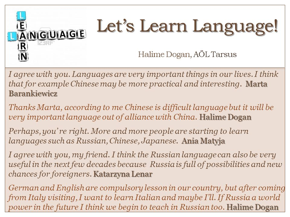 Let's Learn Language! o Halime Dogan, AÖL Tarsus