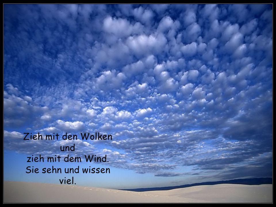 Zieh mit den Wolken und zieh mit dem Wind. Sie sehn und wissen viel.