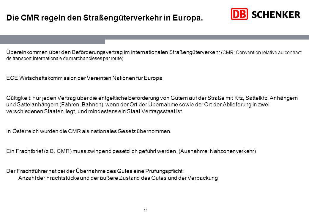 Die CMR regeln den Straßengüterverkehr in Europa.