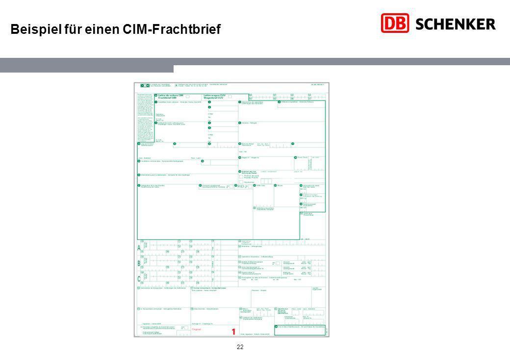Beispiel für einen CIM-Frachtbrief