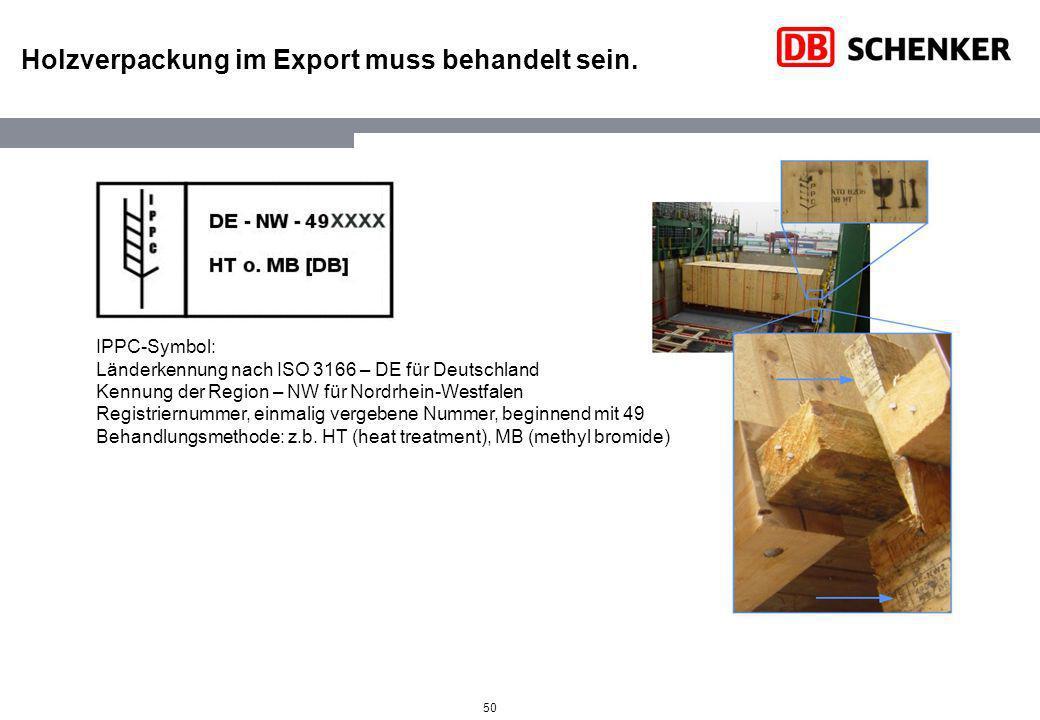 Holzverpackung im Export muss behandelt sein.