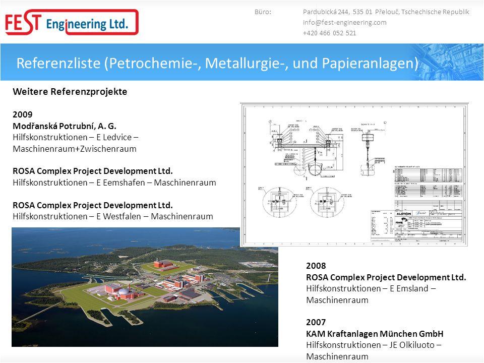 Referenzliste (Petrochemie-, Metallurgie-, und Papieranlagen)