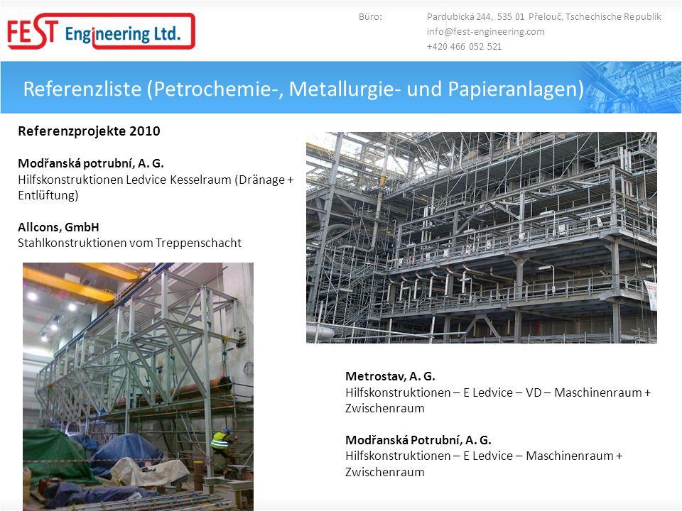 Referenzliste (Petrochemie-, Metallurgie- und Papieranlagen)