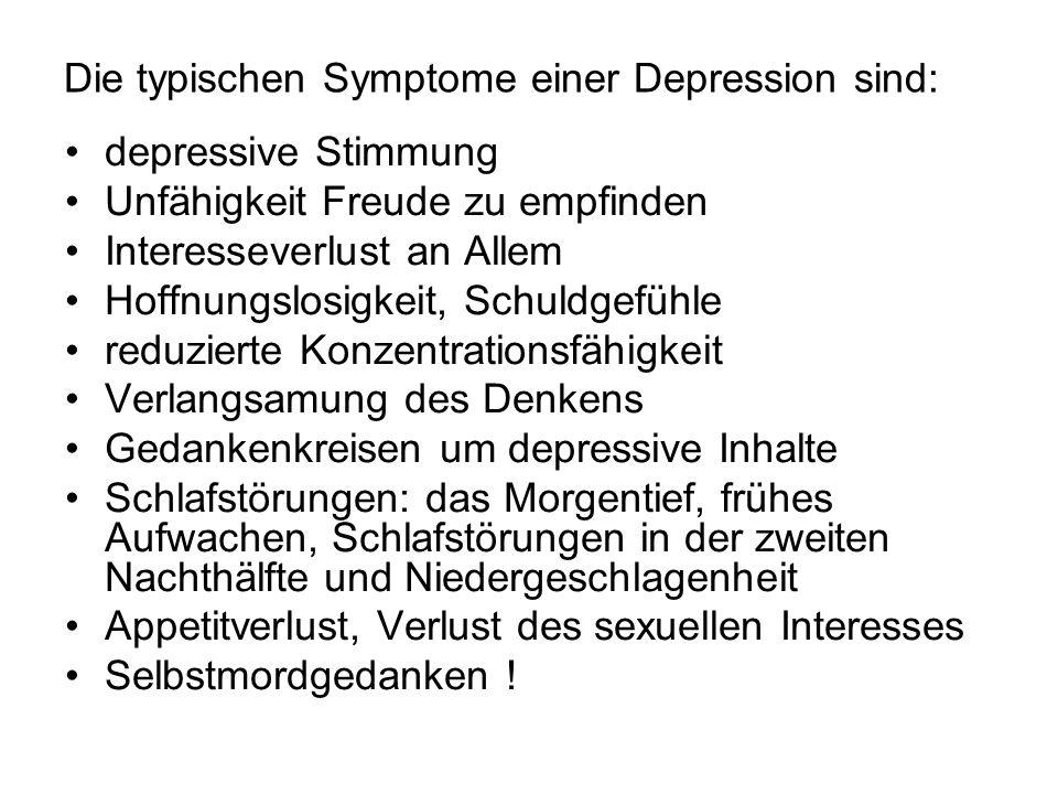 Die typischen Symptome einer Depression sind: