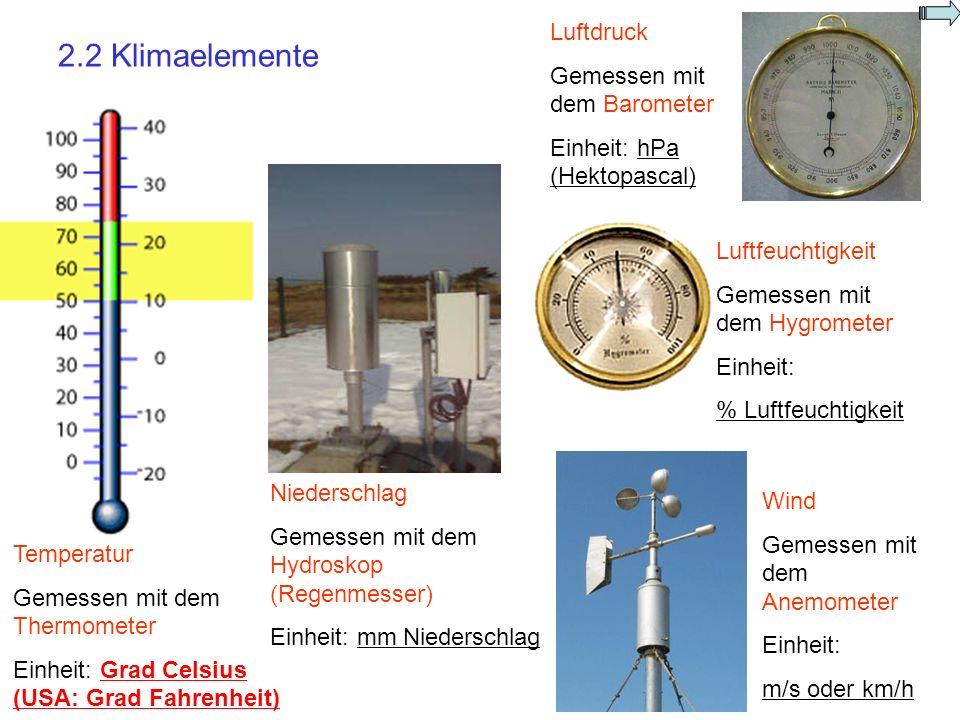 2.2 Klimaelemente Luftdruck Gemessen mit dem Barometer