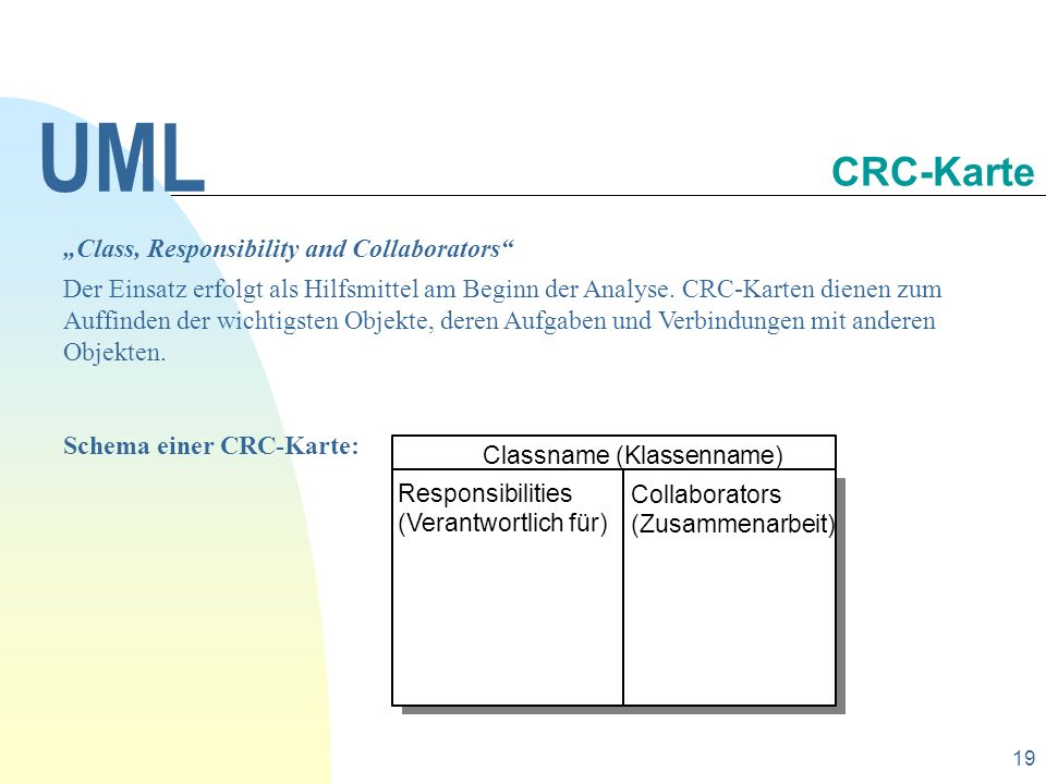 "UML CRC-Karte ""Class, Responsibility and Collaborators"