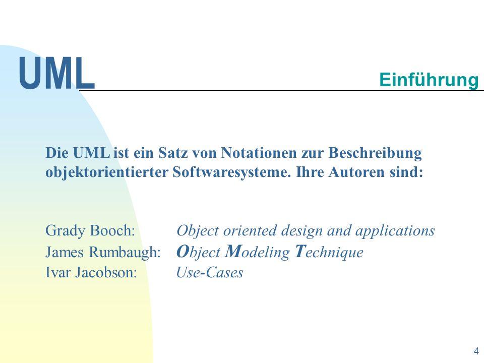 UML 30.09.1998. Einführung. Die UML ist ein Satz von Notationen zur Beschreibung objektorientierter Softwaresysteme. Ihre Autoren sind: