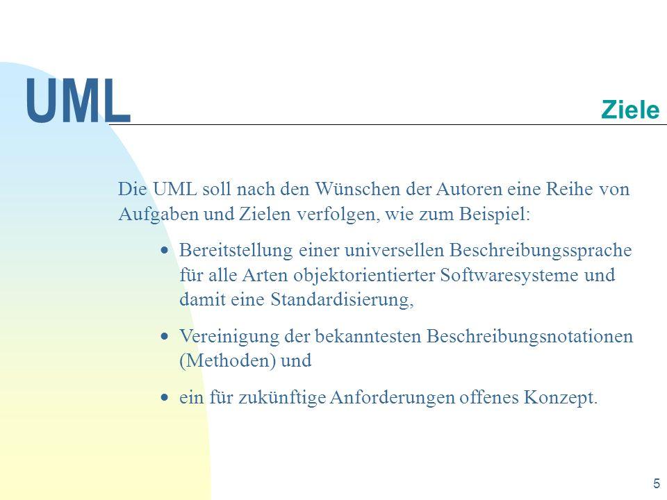 UML 30.09.1998. Ziele. Die UML soll nach den Wünschen der Autoren eine Reihe von Aufgaben und Zielen verfolgen, wie zum Beispiel: