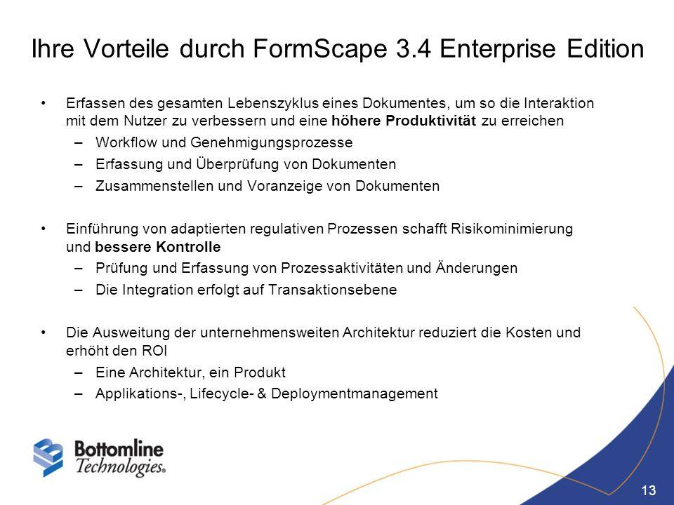 Ihre Vorteile durch FormScape 3.4 Enterprise Edition