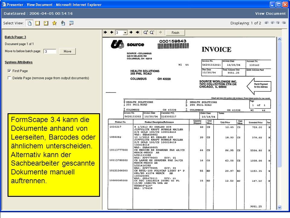 FormScape 3.4 kann die Dokumente anhand von Leerseiten, Barcodes oder ähnlichem unterscheiden.
