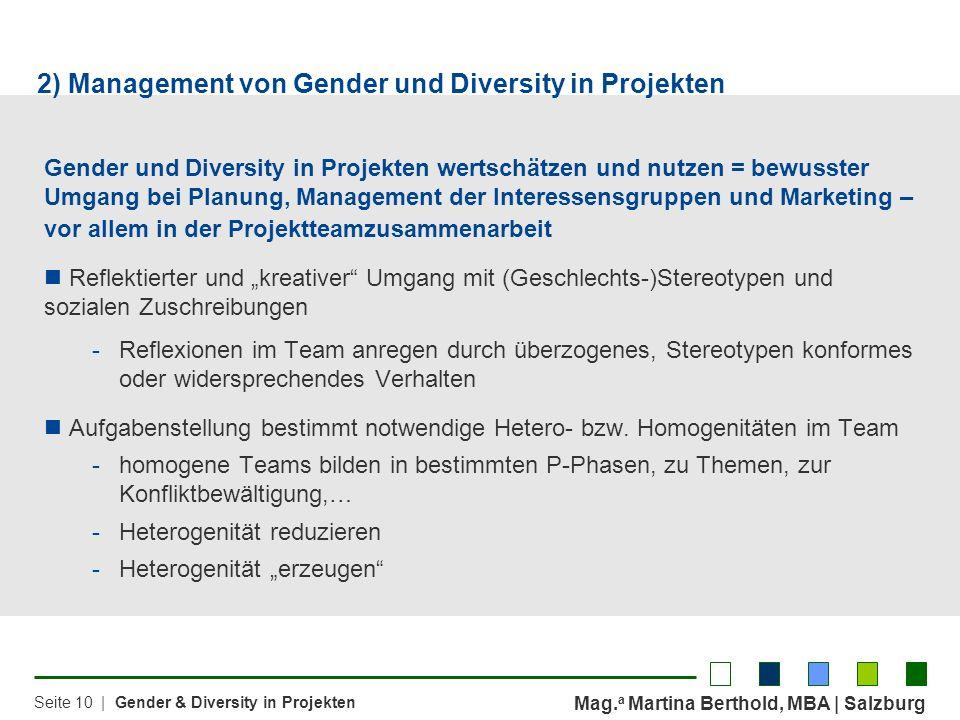 2) Management von Gender und Diversity in Projekten