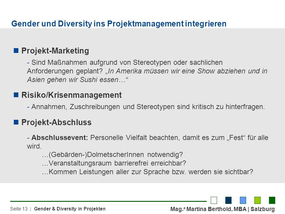 Gender und Diversity ins Projektmanagement integrieren
