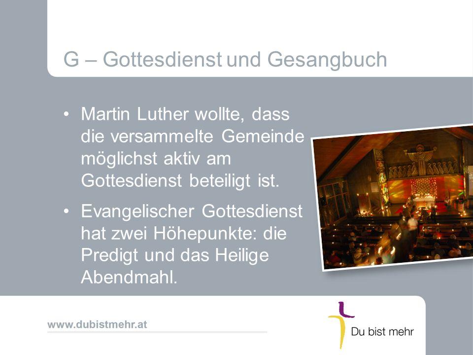 G – Gottesdienst und Gesangbuch