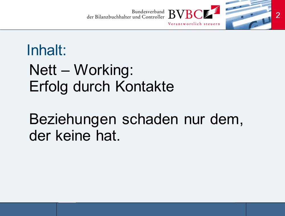 Inhalt: Nett – Working: Erfolg durch Kontakte Beziehungen schaden nur dem, der keine hat.