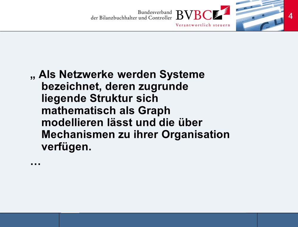 """"""" Als Netzwerke werden Systeme bezeichnet, deren zugrunde liegende Struktur sich mathematisch als Graph modellieren lässt und die über Mechanismen zu ihrer Organisation verfügen."""